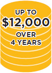 UP TO $12,000 OVER 4 YEARS
