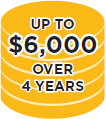UP TO $6,000 OVER 4 YEARS