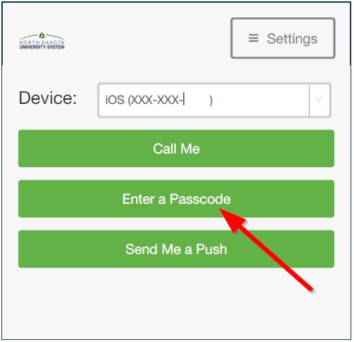 """Select """"Enter a Passcode"""" button"""